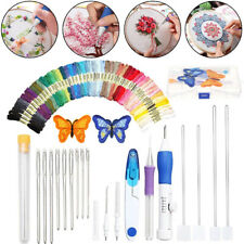Magic Diy Embroidery Needle Pen Kit Knitting Sewing Tool Punch Set 50 Threads
