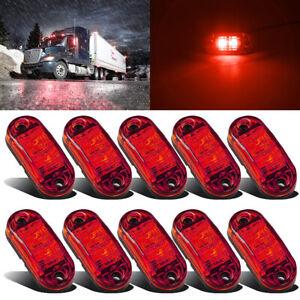 10x 2 LED Red Side Rear Tail Marker Lights Lamp Trailer Truck Lorry Bus 12V-24V