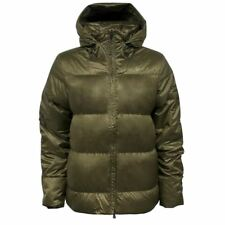 Nike Zip Up Puffer Quilted Goose Down Hooded Womens Khaki Jacket 447991 232 A67D