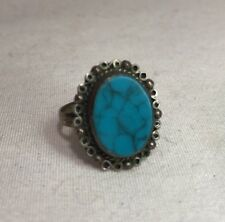 Solid 925 Sterling Silver Turquoise Oval Flat Framed Handmade Ring Size 7