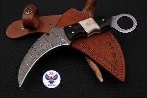 CUSTOM HANDMADE DAMASCUS STEEL KARAMBIT KNIFE WITH HORN & BONE HANDLE - ZS 29