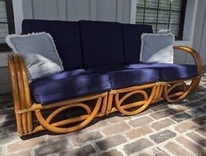 Bamboo Couch Rattan Boho Paul Frankel MCM Midcentury Pretzel Sofa Loveseat