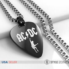Stainless Steel ACDC Rock Band Guitar Pick Music Band Pendant w Box Necklace 14F