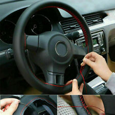 38cm Leather DIY Car Steering Wheel Cover W/ Black Cover + Red Thread + Needle