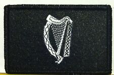 IRELAND Patch Iron-On B & W Version Military Tactical Black Border #24