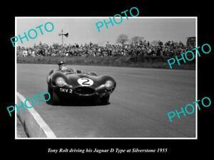 POSTCARD SIZE PHOTO OF TONY ROLT DRIVING JAGUAR D TYPE RACE CAR 1955 SILVERSTONE