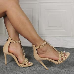 Womens Rivet T Strap High Heels Sexy Stiletto Sandals Peep Toe Pumps Shoes Party