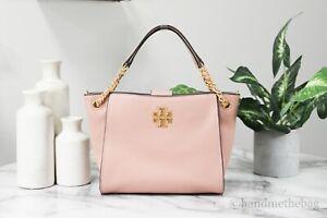 Tory Burch (82303) Britten Mini Pink Moon Pebbled Leather Crossbody Tote Handbag