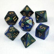 Set 7 dadi CHESSEX Gemini Blue Green gold 26436 Blu Verde oro Dado Dice Die D&D