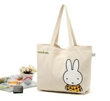 Japan Miffy Rabbit Cotton Canvas Natural School Lunch Bag  Picnic Tote