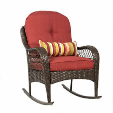 BCP Wicker Steel Frame Rocking Chair w/ Decorative Pillow and Cushions