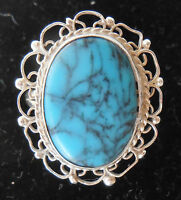 VINTAGE MEXICO TURQUOISE STERLING SILVER FILIGREE RING