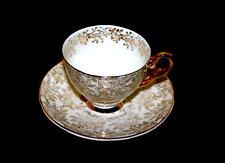 More details for jane ridge burslem england 1940 signed ceramic cup & saucer gold art nouveau
