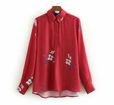 Vintage Women Long Sleeve Collar Casual Shirts Fashion Blouse Tops Floral Print