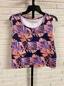 Nike womens tank top crop stretch floral dri-fit sports purple 2X NEW $40 #G184