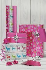 BRAND NEW Luxury Bright Pink Christmas Wrapping Paper Roll Ribbon Set