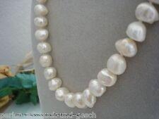 Collier 50cm Barock  Echte Perlen 14mm! Weiß, Magnetverschluss, Handarbeit, TOP!