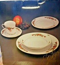 20 Piece Fairfield POINSETTIA RIBBONPorcelain Holiday Dinnerware Gift Gallery