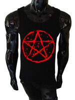 Mens Pentagram Tank Top SCREENPRINTED Vest Goth Punk Metal Biker rock satanic