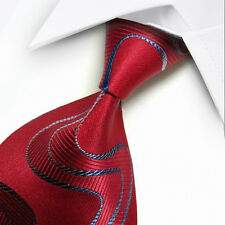 Men's Tie Classic Polyester Jacquard Woven Necktie Striped Ties Blue Red S073