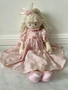 Kate Finn Designer Rag/Cloth Doll White Hair Pink Dress 39cm Braids Ballerina