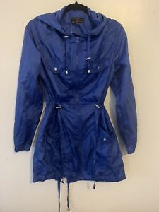 New Look Size 10 Softshell Raincoat Overcoat Autumn Mid Lenght Blue