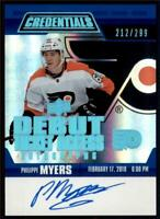 2019-20 Credentials Debut Ticket Access Auto #RTAA-PM Philippe Myers RC /299
