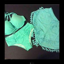 NWT Victoria's Secret BIKINI+SHORTS 32DD/S high-waist MINT tiffany blue TEAL