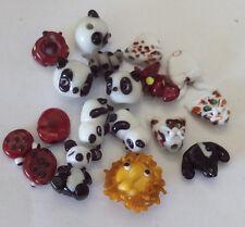 LGL- Handmade Lampwork Beads 18ea ORPHAN ANIMAL #1 Ln617 - Sra- Jewelry Crafts