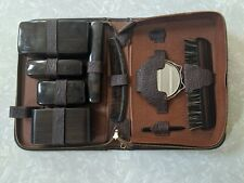 Vintage Men's Travel Kit Soap Brush Comb Toothbrush Mirror Leather Case Acetate