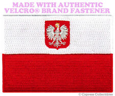 POLAND FLAG PATCH POLISH EMBROIDERED EMBLEM SWALLOW w/ VELCRO® Brand Fastener