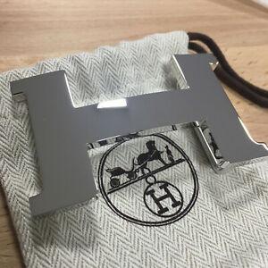 Hermes 42MM SILVER Polished Shiny Belt Buckle H Constance