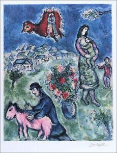 Marc CHAGALL Sur La Route Facsimile Signed Litho Art Print 33 x 24-1/2