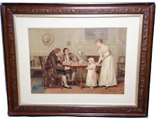 "Old Pears Print - Girl Being offered apple - Very Large 37""x29"" Very Early Print"