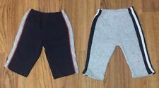 Two pair of gray and blue stripe down the side Sweatpants 3-6 Months