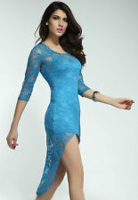Fancy Mini Dress with Lace Sleeves Train Blue