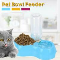 Double Bowl Pet Dog Cat Automatic Drinking Water Feeder Food Dispenser AU Best