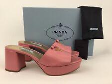 PRADA Logo Block Heel Platform Mule Slide Sandal Pink Leather 38 / 8