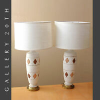 STUNNING PAIR OF ORIG. MID CENTURY MODERN ATOMIC TABLE LAMPS! VTG 50S CREAM GOLD