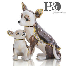 Hinged Trinket Boxes Mother and Son Dogs Hand-patined Ring Holder with Gift Box