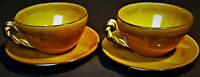 Lou Pignatier French Studio Pottery 2 Golden Yellow Cafe Cups & Saucers Signed