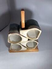 4 Mid-century Modern Padilla Stoneware Blue Coffee Mug Set with Stacking Rack