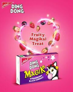 2X DING DONG MAGIK BUBBLE GUM HALAL STRAWBERRY & BLACKCURRANT 72 CHEWS