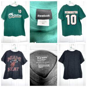Lot of 2 Boys size M 8/10 Miami Dolphins 'Pennington' & Miami Heat T-shirts