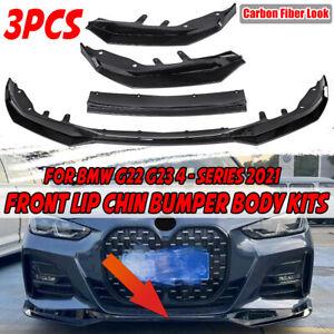 Carbon Fiber Look Front Bumper Lip Spoiler For BMW 4 Series G22 G23 2020-2021