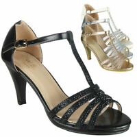 Ladies Strappy Sandals Heels Womens Wedding Bridesmaid Bridal Party Shoes Size