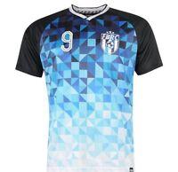 FABRIC SPORTS RETRO FOOTBALL SHIRT TOP TEE-SHIRT TS61 GEO BLUE& BLACK LARGE BNWT
