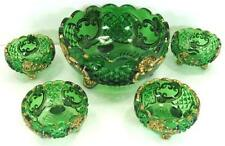 EAPG 1897 Croesus Emerald Green Gold Stain Berry Set 5 Riverside Glass Co.