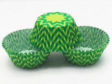 48 Green Starburst Cupcake Liners Chevron Standard Size Baking Cups Greaseproof