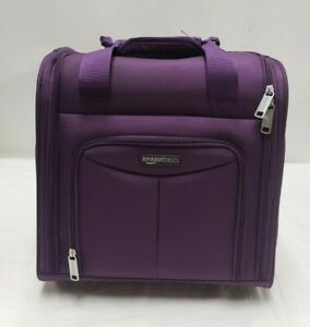 NEW Amazon Basics Underseat Carry On Rolling Travel Luggage Bag 14 In PURPLE